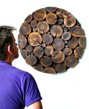 Log Wall Art - CIRCULAR MOSAIC in BLACKENED